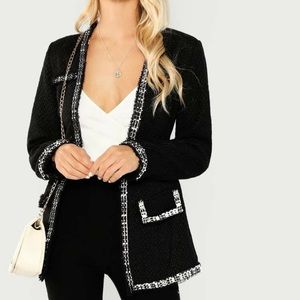 SHEIN Open Front Raw Hem Coat Black